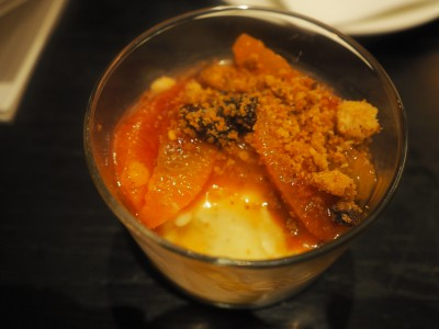 Panna cotta med appelsin, rosin og crumble