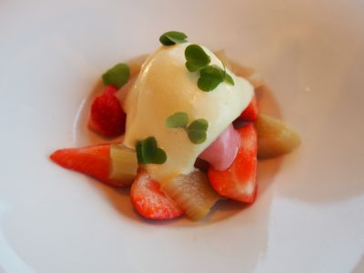 Rabarbra, vanilje, jordbær og gjøksyre