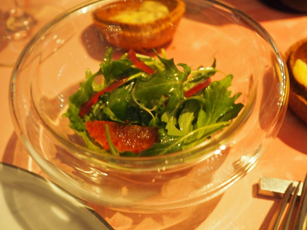 Ruccola, blodappelsin og sjalottløk