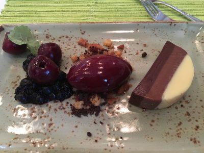 Sjokoladetrio-terrin med moreller og blåbær